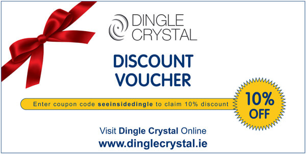 Dingle-Crystal-Online-Discount-Voucher for ten percent off orders on www.dinglecrystal.ie